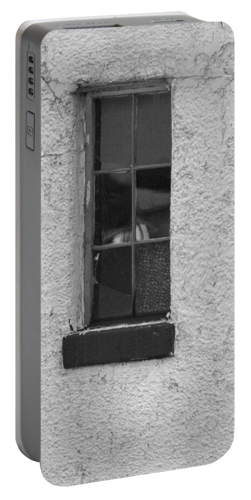 Window Portable Battery Charger featuring the photograph Drab In Black And White by Kathy Clark