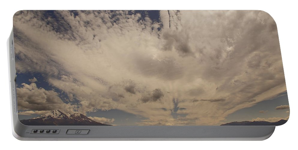 Mount Shasta Portable Battery Charger featuring the photograph Dramatic Sky Over Mount Shasta by Mick Anderson