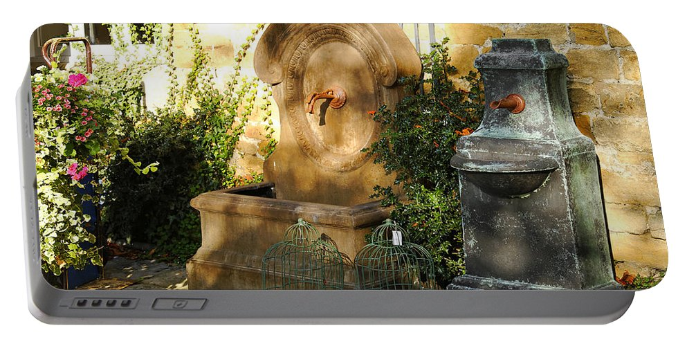 Britain Portable Battery Charger featuring the photograph Drinking Fountains For Sale - Broadway by Rod Johnson