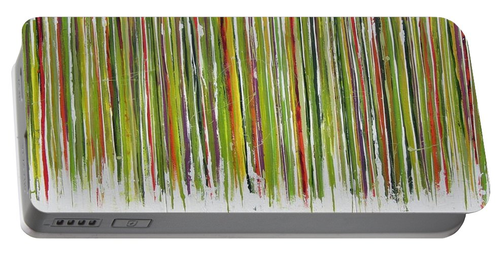 Abstract Portable Battery Charger featuring the painting D.s. Color Band by Kathy Sheeran