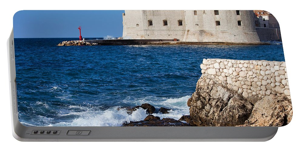 Dubrovnik Portable Battery Charger featuring the photograph Dubrovnik Fortification And Bay by Artur Bogacki