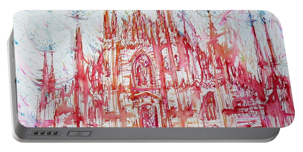 Milan Portable Battery Charger featuring the painting Duomo City Of Milan In Italy Portrait by Fabrizio Cassetta