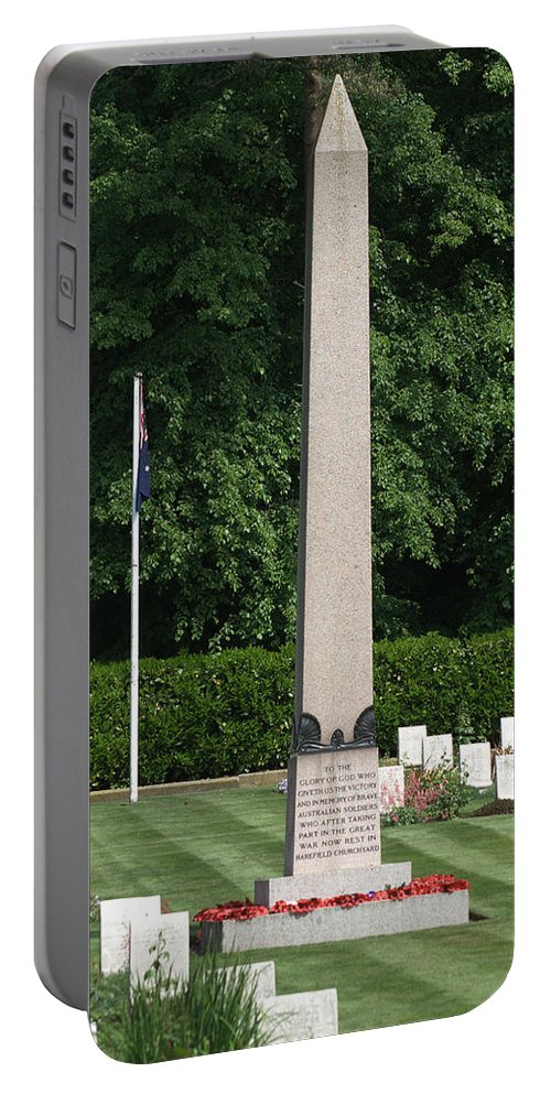 Anzac Cemetery Portable Battery Charger featuring the photograph During The First World War Harefield Park Was Offered By The Owner As A Hospital To The Ministry Of by Chris Day