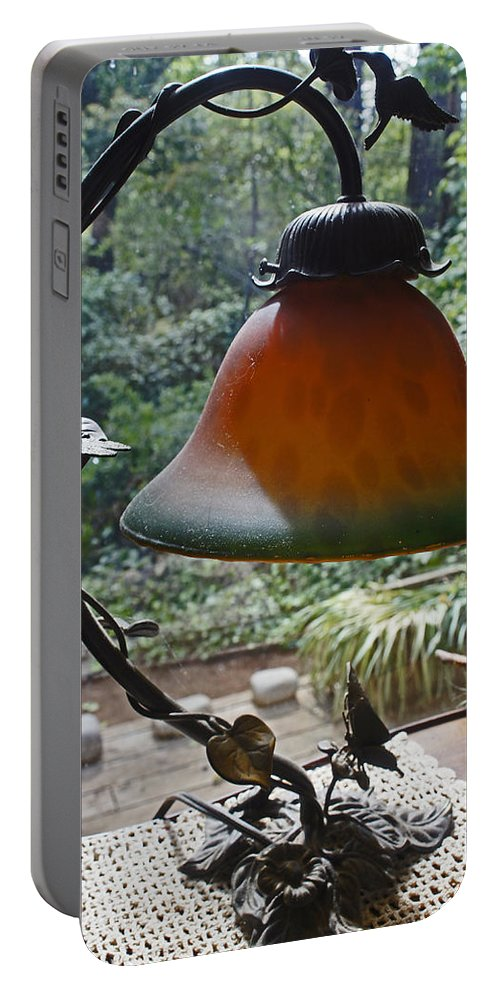 Dust Portable Battery Charger featuring the photograph Dusty Old Lamp In Morning Light by Mick Anderson