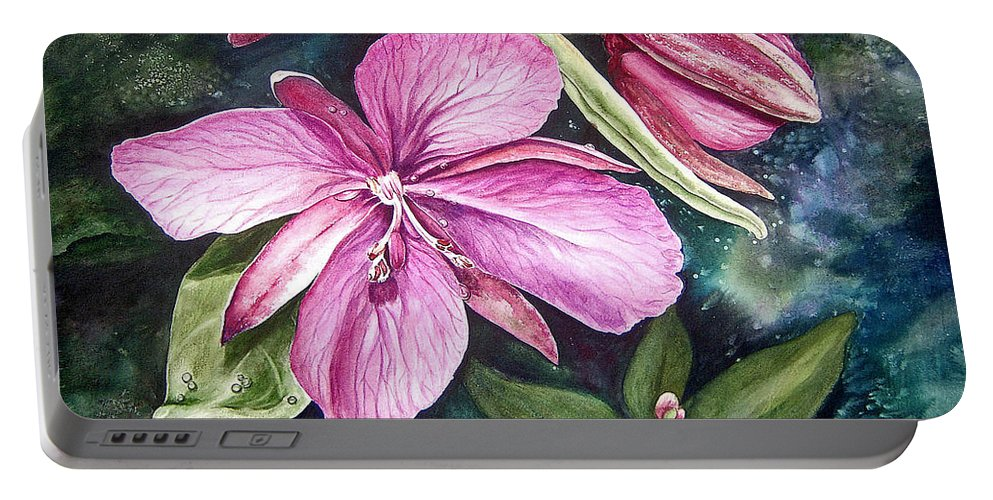 Flower Portable Battery Charger featuring the painting Dwarf Fireweed by Ilene Paulsen