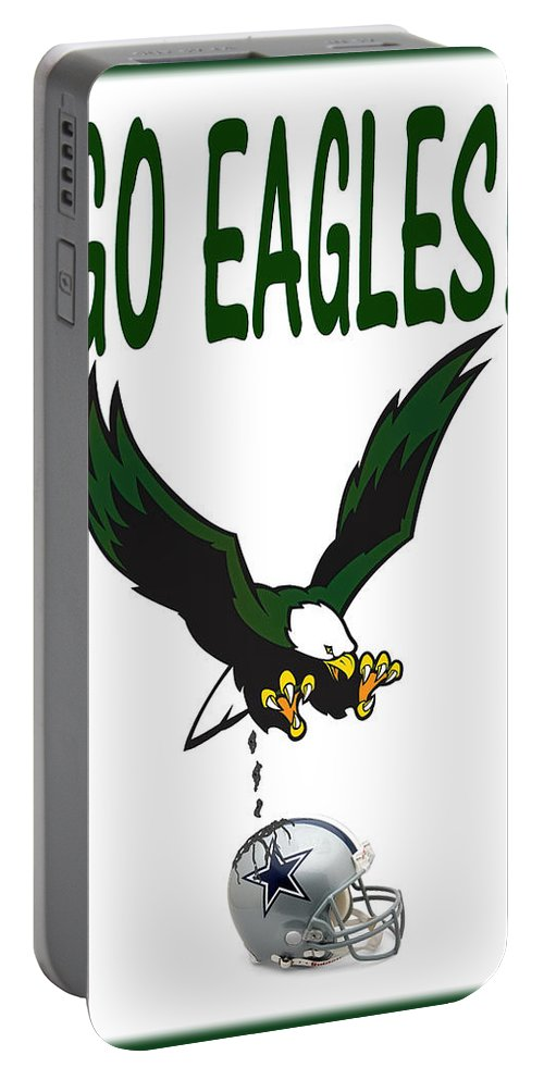 Football Portable Battery Charger featuring the digital art Eagles Vs Dallas by Bill Cannon