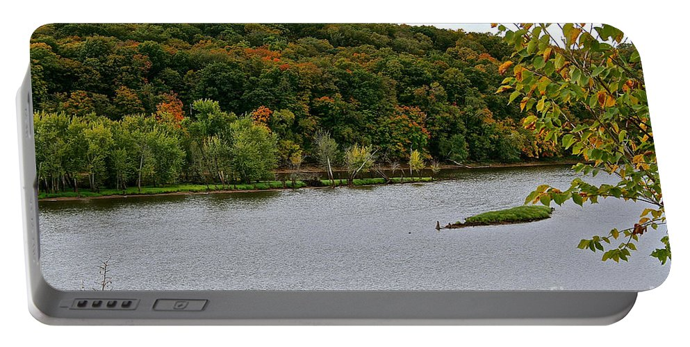 Landscape Portable Battery Charger featuring the photograph Early Autumn Shoreline by Susan Herber