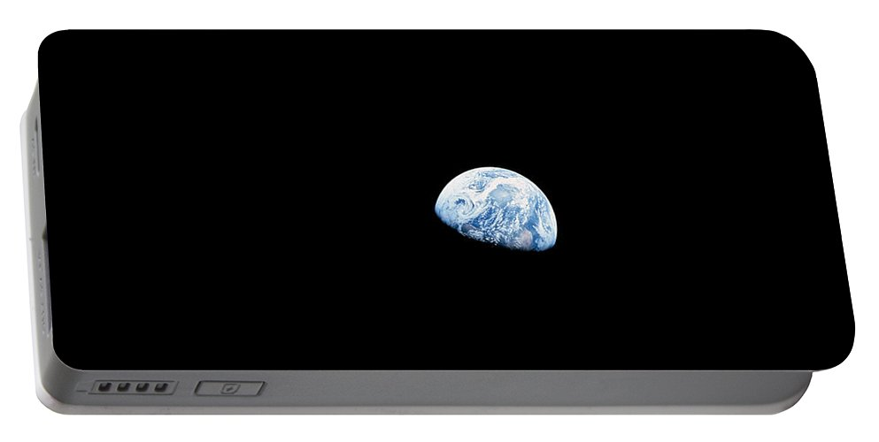 View From Space Portable Battery Charger featuring the photograph Earth Rising Above The Lunar Horizon by Stocktrek Images