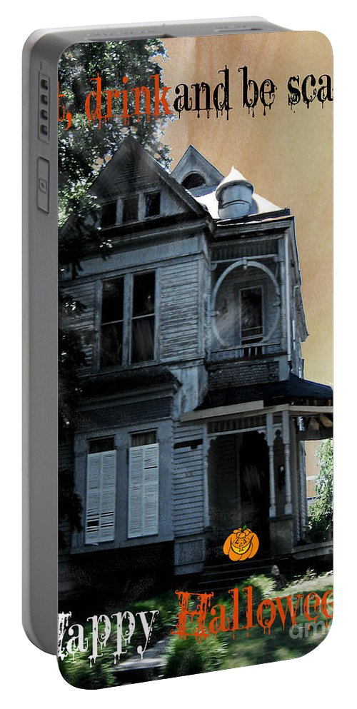 Victorian House Portable Battery Charger featuring the digital art Eat Drink And Be Scary by Lizi Beard-Ward