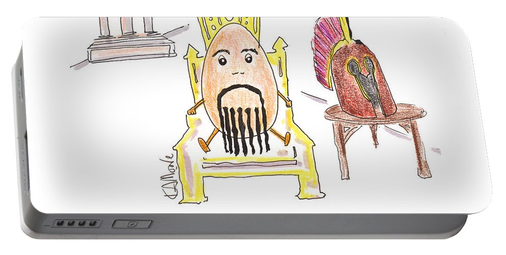 Cartoon Portable Battery Charger featuring the drawing Eggamemnon by Kev Moore