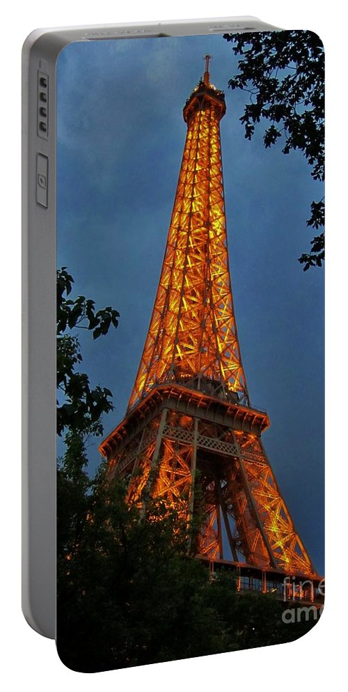 Eiffel Tower Portable Battery Charger featuring the photograph Eiffel Tower At Night by John Malone
