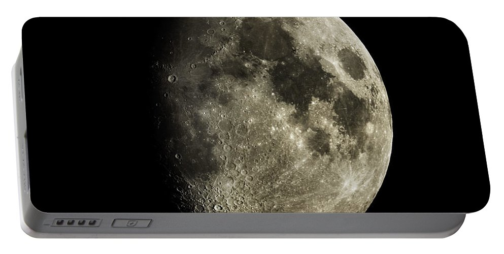 Astronomy Portable Battery Charger featuring the photograph Eight-day-old Moon by Raul Gonzalez Perez