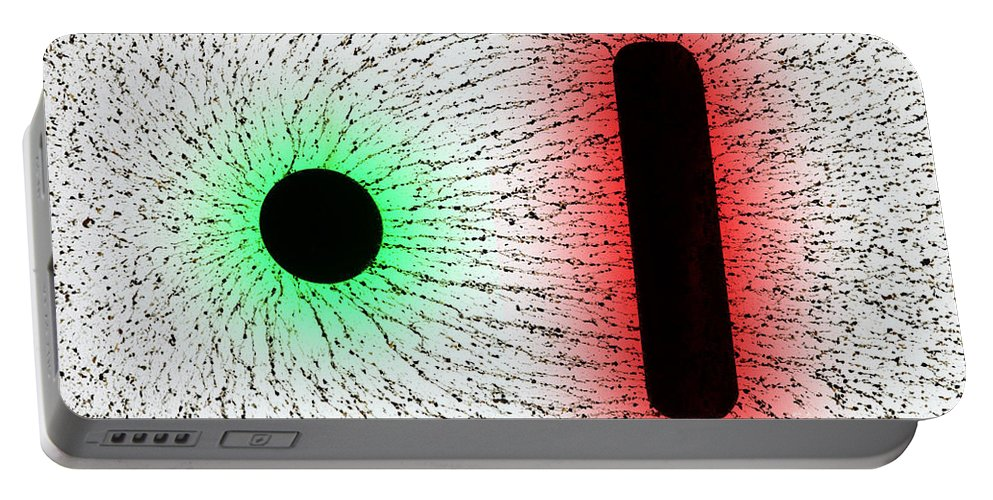 E Fields Portable Battery Charger featuring the photograph Electrostatic Field Lines Unlike Charges by Ted Kinsman