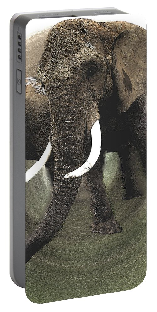 Colette Portable Battery Charger featuring the painting Elephant Awake by Colette V Hera Guggenheim