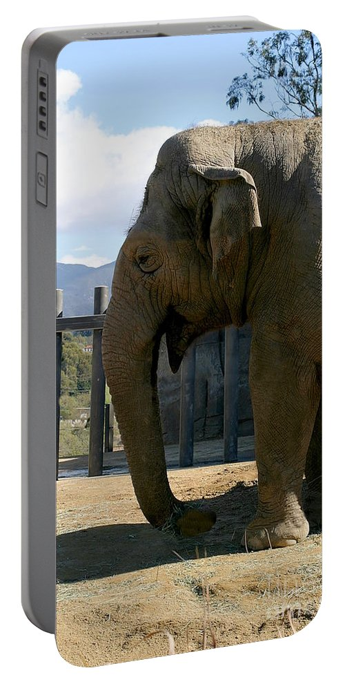 Trunk Portable Battery Charger featuring the photograph Elephant by Henrik Lehnerer