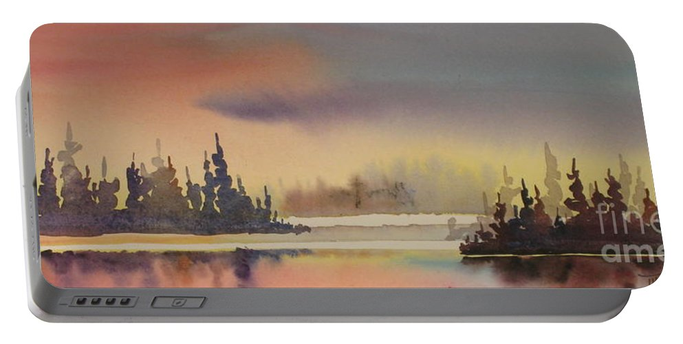 Portable Battery Charger featuring the painting Elk Island Sundown 1 by Mohamed Hirji