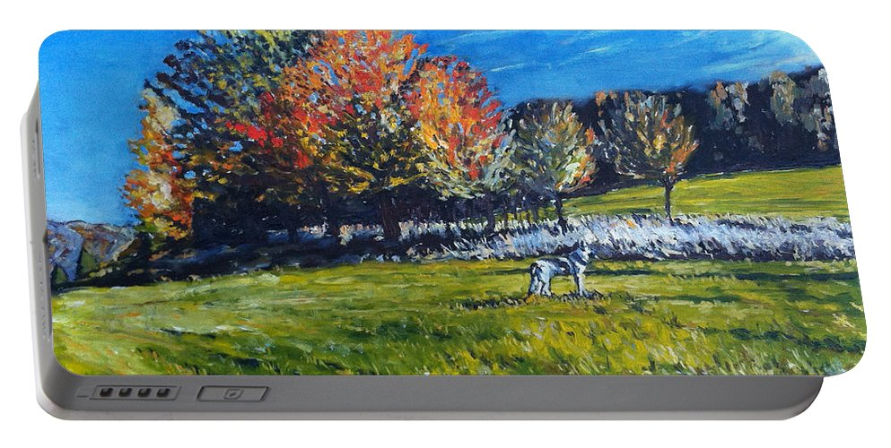 Landscape Portable Battery Charger featuring the painting Elli by Pablo de Choros