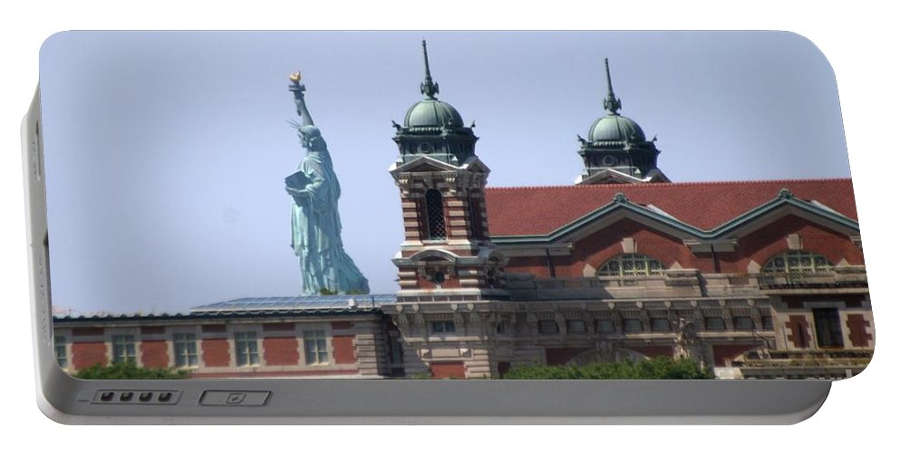 Statue Of Liberty Portable Battery Charger featuring the photograph Ellis Island And Statue Of Liberty by Living Color Photography Lorraine Lynch