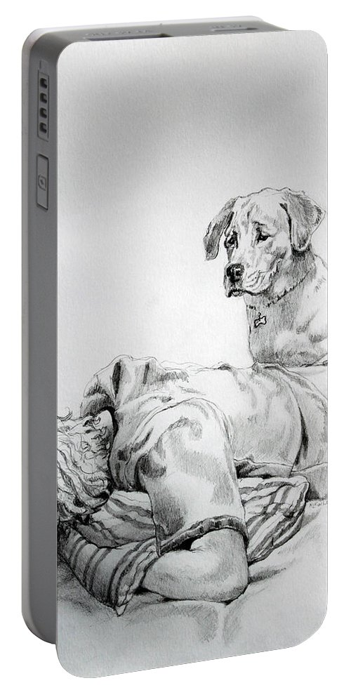 Dog Portable Battery Charger featuring the drawing Empathy by Hanne Lore Koehler