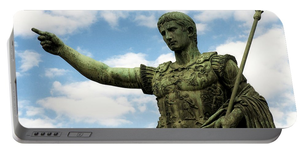 Bronze Portable Battery Charger featuring the photograph Emperor Caesar Augustus by Fabrizio Troiani