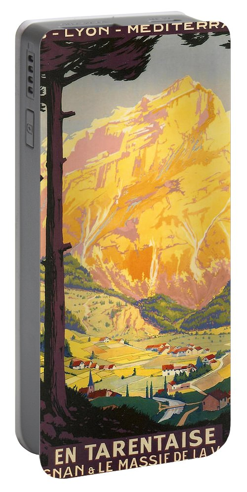 Vintage Travel Portable Battery Charger featuring the digital art En Tarentaise - Vintage French Travel by Georgia Fowler