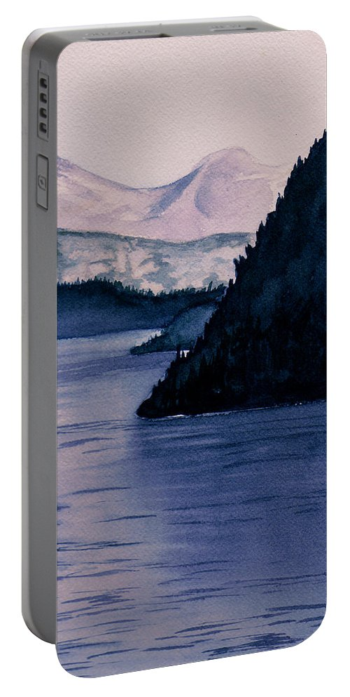 Watercolor Portable Battery Charger featuring the painting End Of Day by Brenda Owen