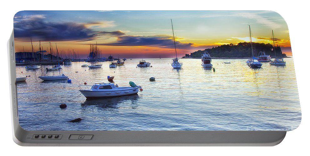 Boats Portable Battery Charger featuring the photograph End Of Day by Madeline Ellis