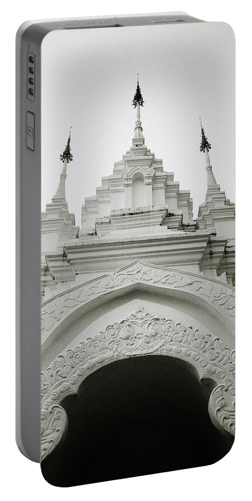 Asia Portable Battery Charger featuring the photograph Entrance To Wat Suan Dok by Shaun Higson