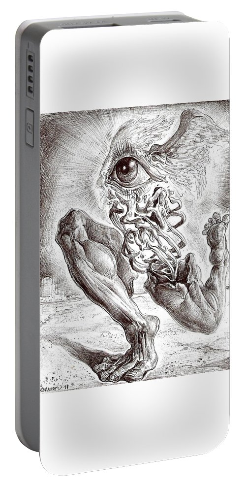Surrealism Portable Battery Charger featuring the drawing Escape From Objective Reality by Darwin Leon