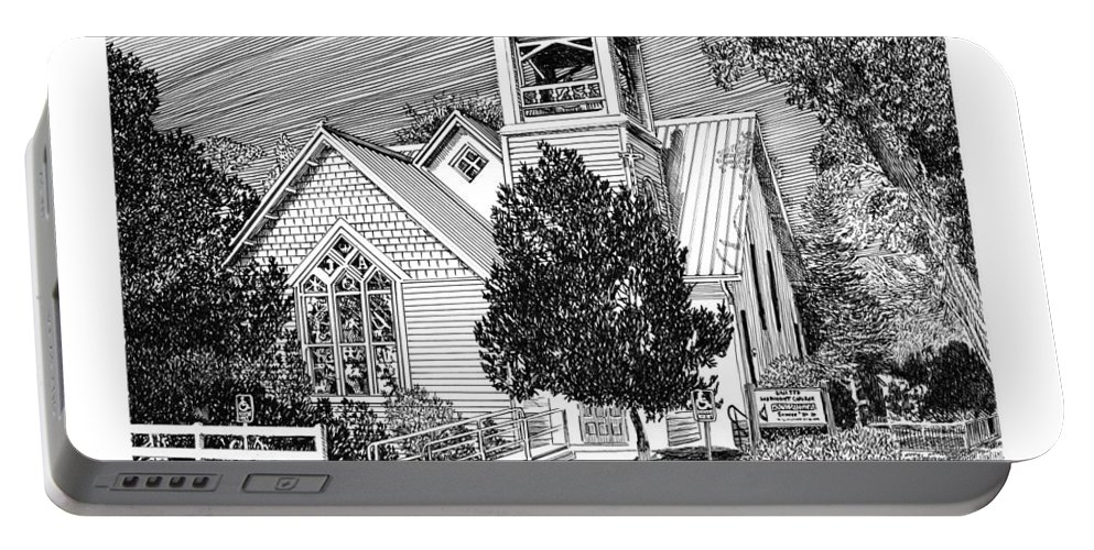 Churches Of New Mexico. Images Of Churches In Pen & Ink. Pen & Ink Drawings Of Churches. Estancia United Methodist Church. Framed Prints Of Churches. Portable Battery Charger featuring the drawing Estancia United Methodist Church by Jack Pumphrey