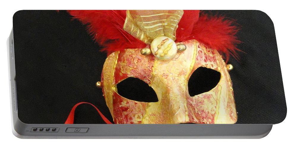 Venetian Mask Portable Battery Charger featuring the pastel Estremo Oriente by Shannon Grissom