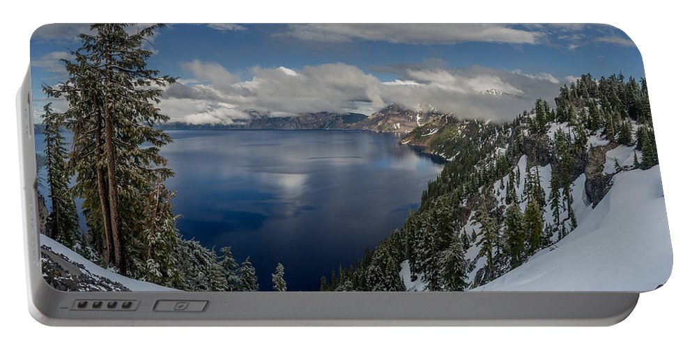 Crater Lake Portable Battery Charger featuring the photograph Evening At Crater Lake Panorama by Greg Nyquist
