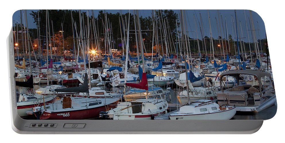 Marina Portable Battery Charger featuring the photograph Evening At The Marina by Eunice Gibb