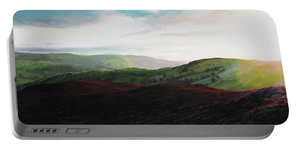 Landscape Portable Battery Charger featuring the painting Evening Landscape Towards Llangollen by Harry Robertson