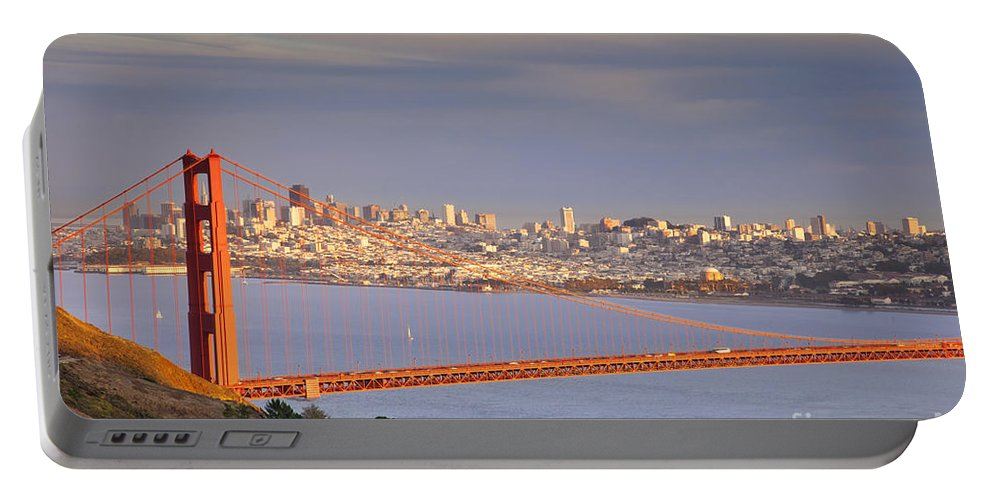 Golden Portable Battery Charger featuring the photograph Evening Over San Francisco by Brian Jannsen