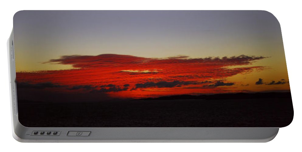 Evening Sunset Portable Battery Charger featuring the photograph Evening Red by Gary Wonning