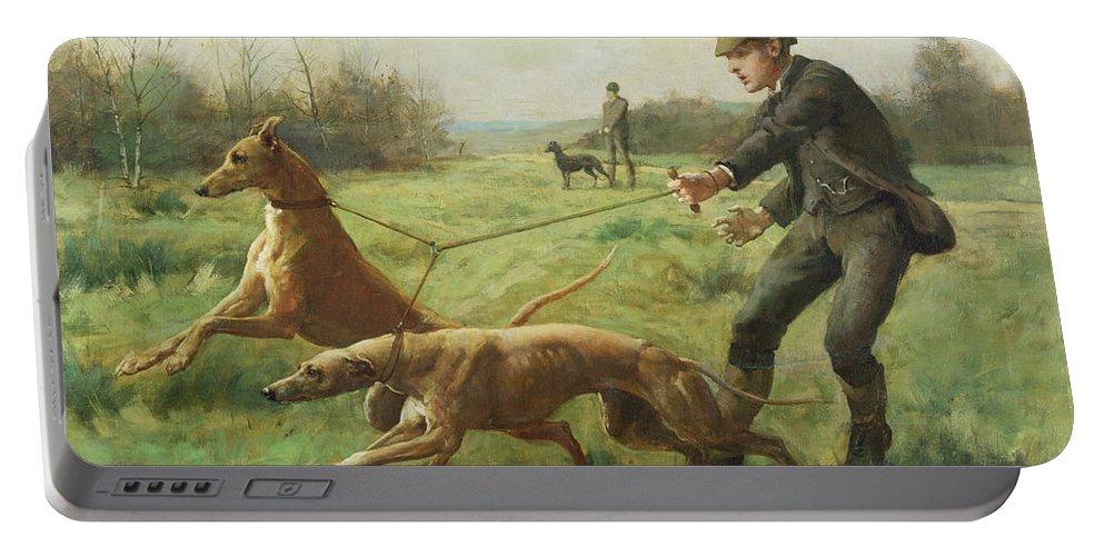Exercising Greyhounds Portable Battery Charger featuring the painting Exercising Greyhounds by George Goodwin Kilburne