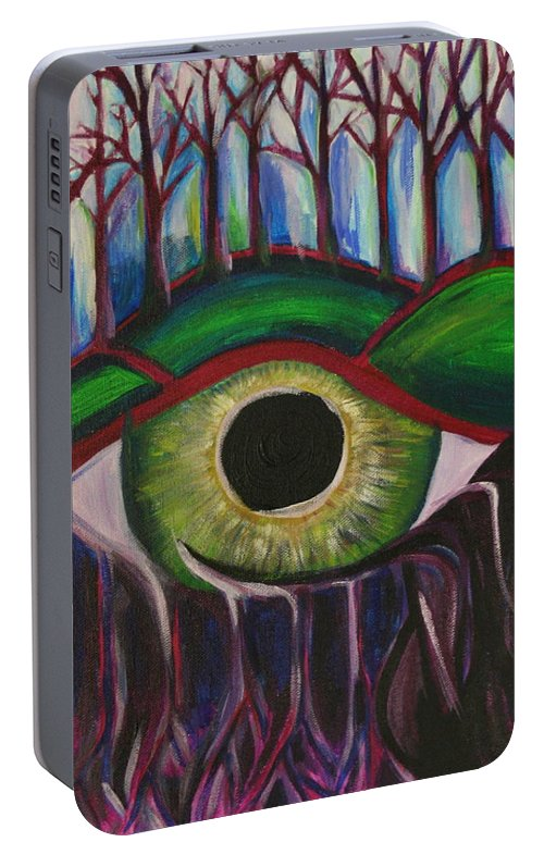 Eye Portable Battery Charger featuring the painting Eye In The Sky by Kate Fortin