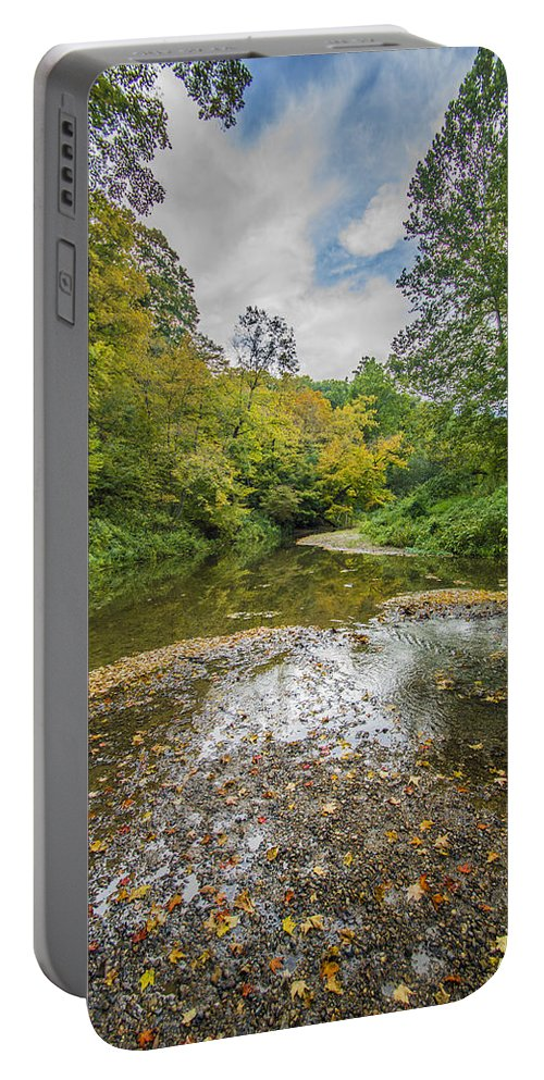 Portable Battery Charger featuring the photograph Fall At The Low Stream by Paul Brooks
