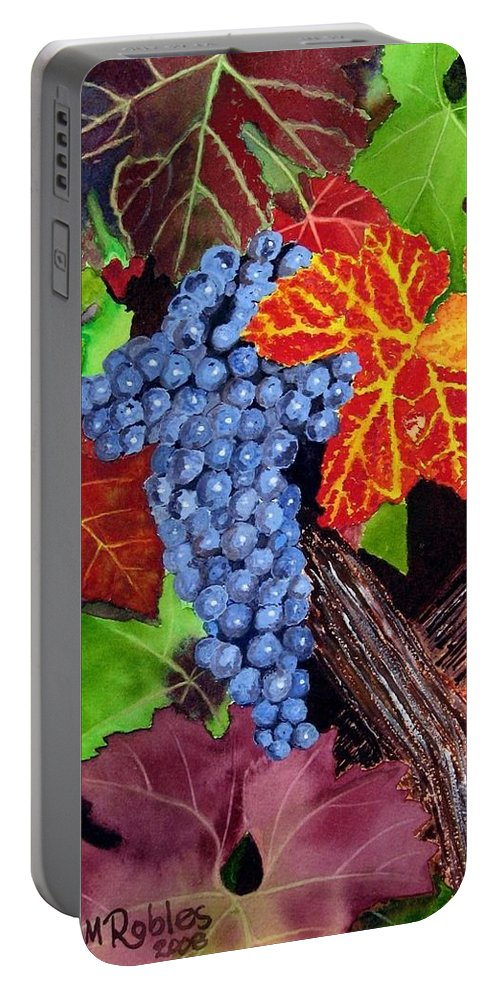 Cabernet Portable Battery Charger featuring the painting Fall Cabernet Sauvignon Grapes by Mike Robles