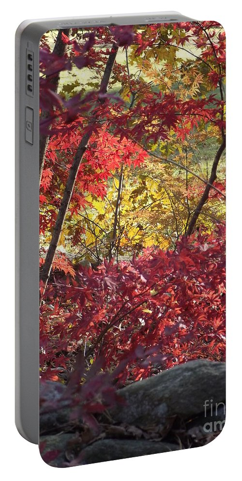 Red Maples Portable Battery Charger featuring the photograph Fall Comes To New England by Michelle Welles