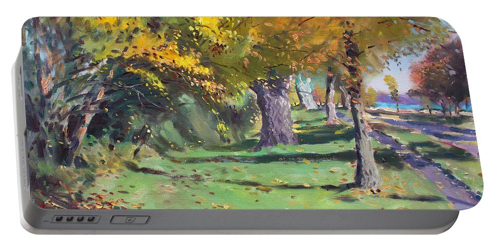 Fall Portable Battery Charger featuring the painting Fall In Goat Island by Ylli Haruni