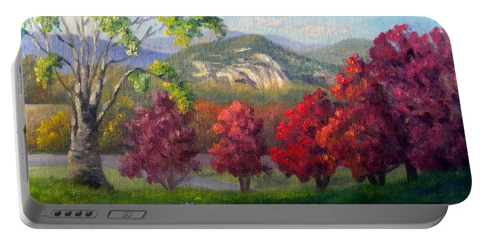 Landscape Portable Battery Charger featuring the painting Fall View from the Red Jacket Inn by Sharon E Allen