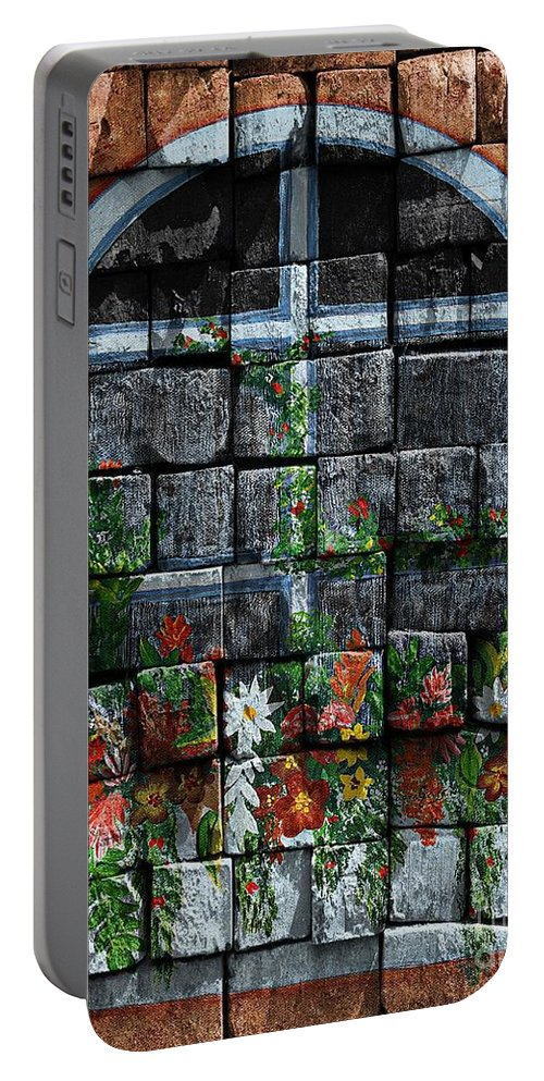 False Window Portable Battery Charger featuring the digital art False Windowbox by Barbara Griffin