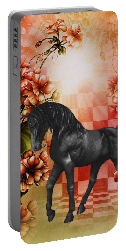 Fantasy Portable Battery Charger featuring the digital art Fantasy Black Horse by Smilin Eyes Treasures