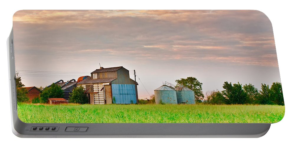 Agricultural Portable Battery Charger featuring the photograph Farm Buildings by Tom Gowanlock