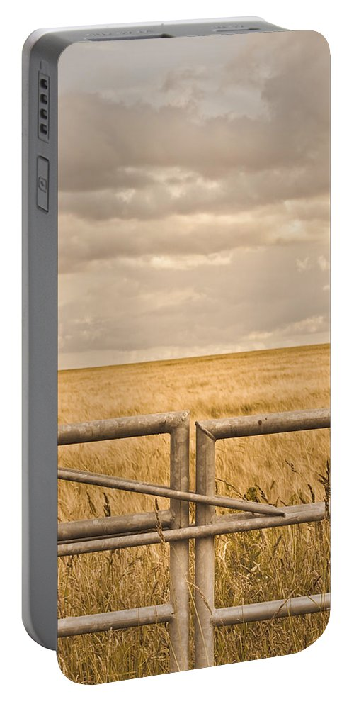 Agriculture Portable Battery Charger featuring the photograph Farm Gate by Tom Gowanlock
