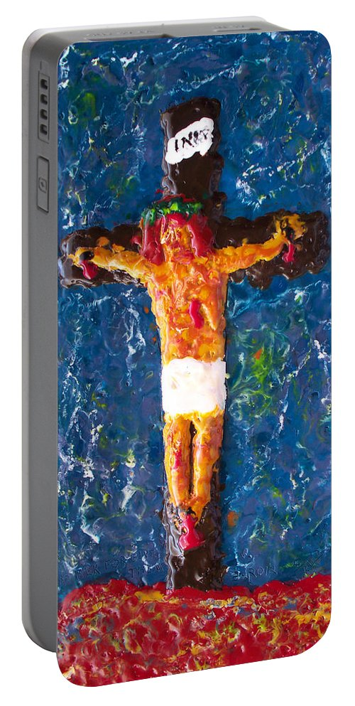 Religious Portable Battery Charger featuring the painting Father Forgive Them by Carl Deaville