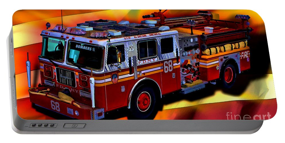 Fdny Portable Battery Charger featuring the digital art Fdny Engine 68 by Tommy Anderson
