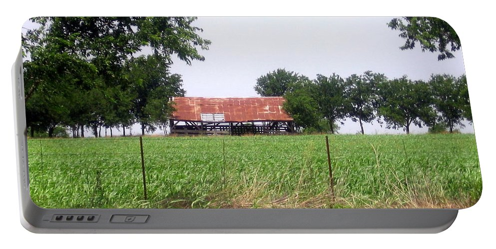 Country Portable Battery Charger featuring the photograph Feeding Barn by Amy Hosp